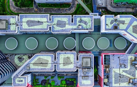 Stock - Aerial view of an industrial plant