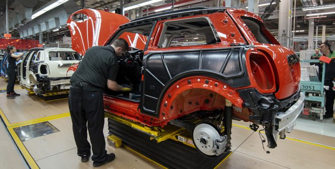 Inside the factory in Cowley, Oxford, a MINI is made every 67 seconds. Image BMW Group