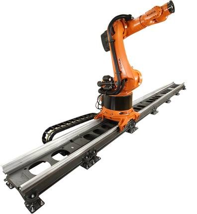 KUKA Industrial Robots - A liner unit offers an additional axis to the robot, extending the work area.