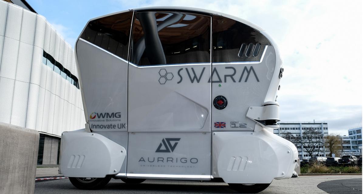 Aurrigo Pod - Self-organising Wide-area Autonomous vehicle Real-time Marshalling (SWARM) project 2