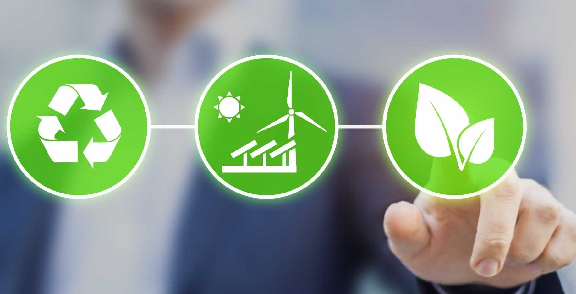 Remanufacture sustainable manufacturing - Sustainability -Concept about sustainable development, ecology and environment protection. Person touching green buttons with icons - shutterstock_502293859