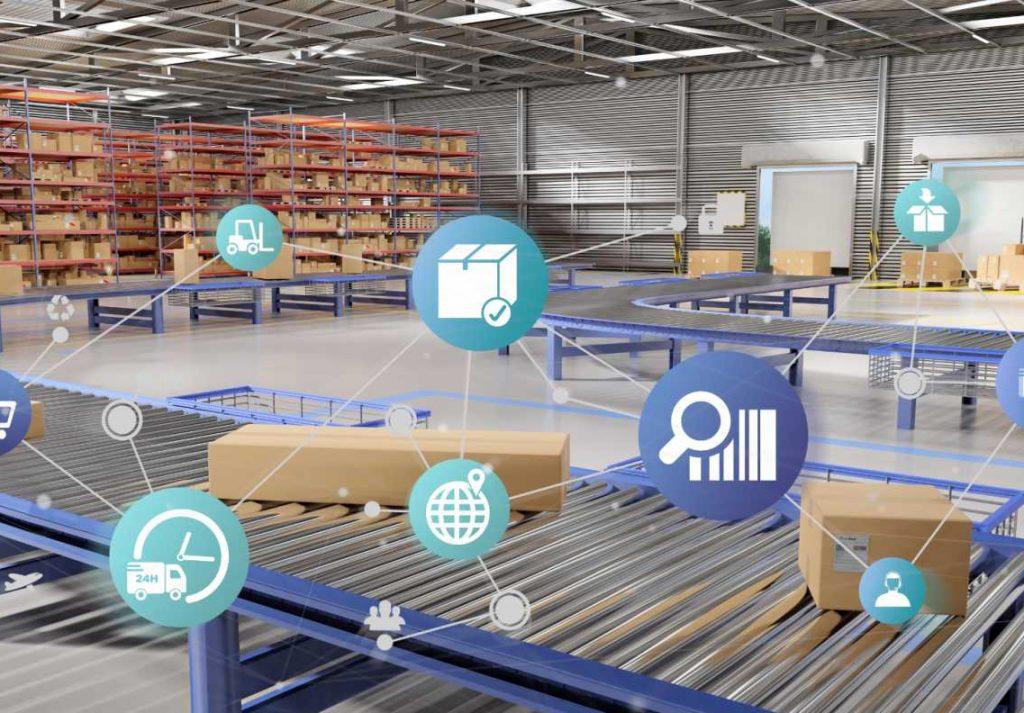 Logistics supply chain digital technologies transformation warehouse iot connectivity data - shutterstock_1144447313