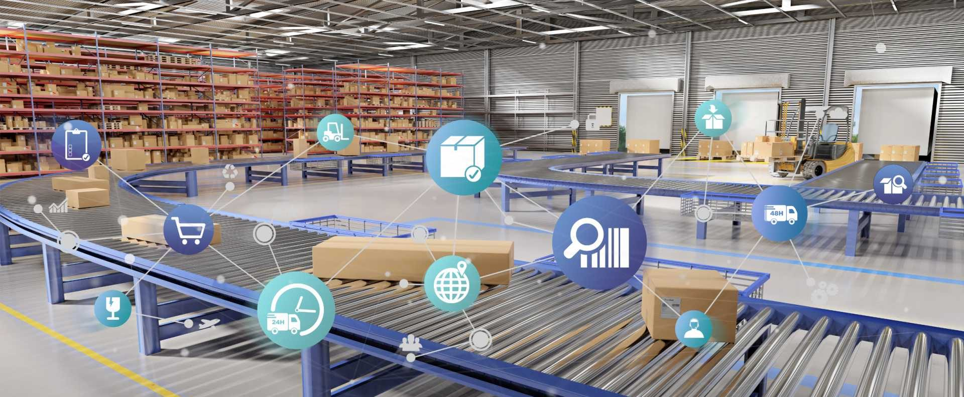 Logistics supply chain resilience digital technologies transformation warehouse iot connectivity data - shutterstock_1144447313