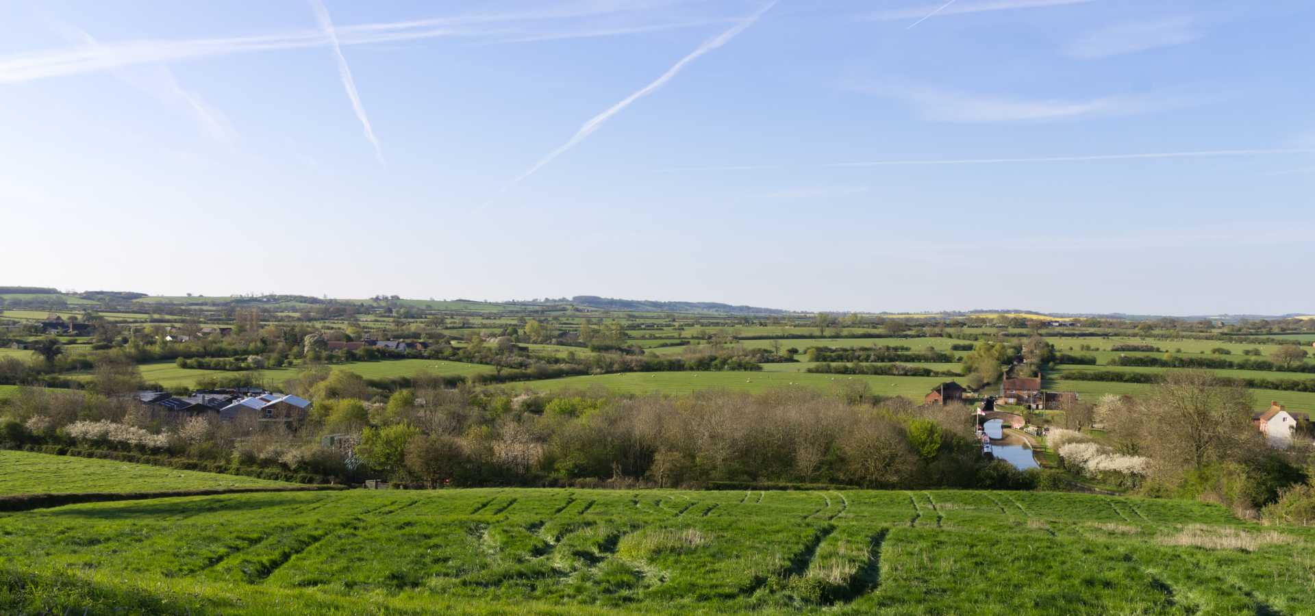 Lontra's headquarters (left) in Napton and the surrounding countryside.