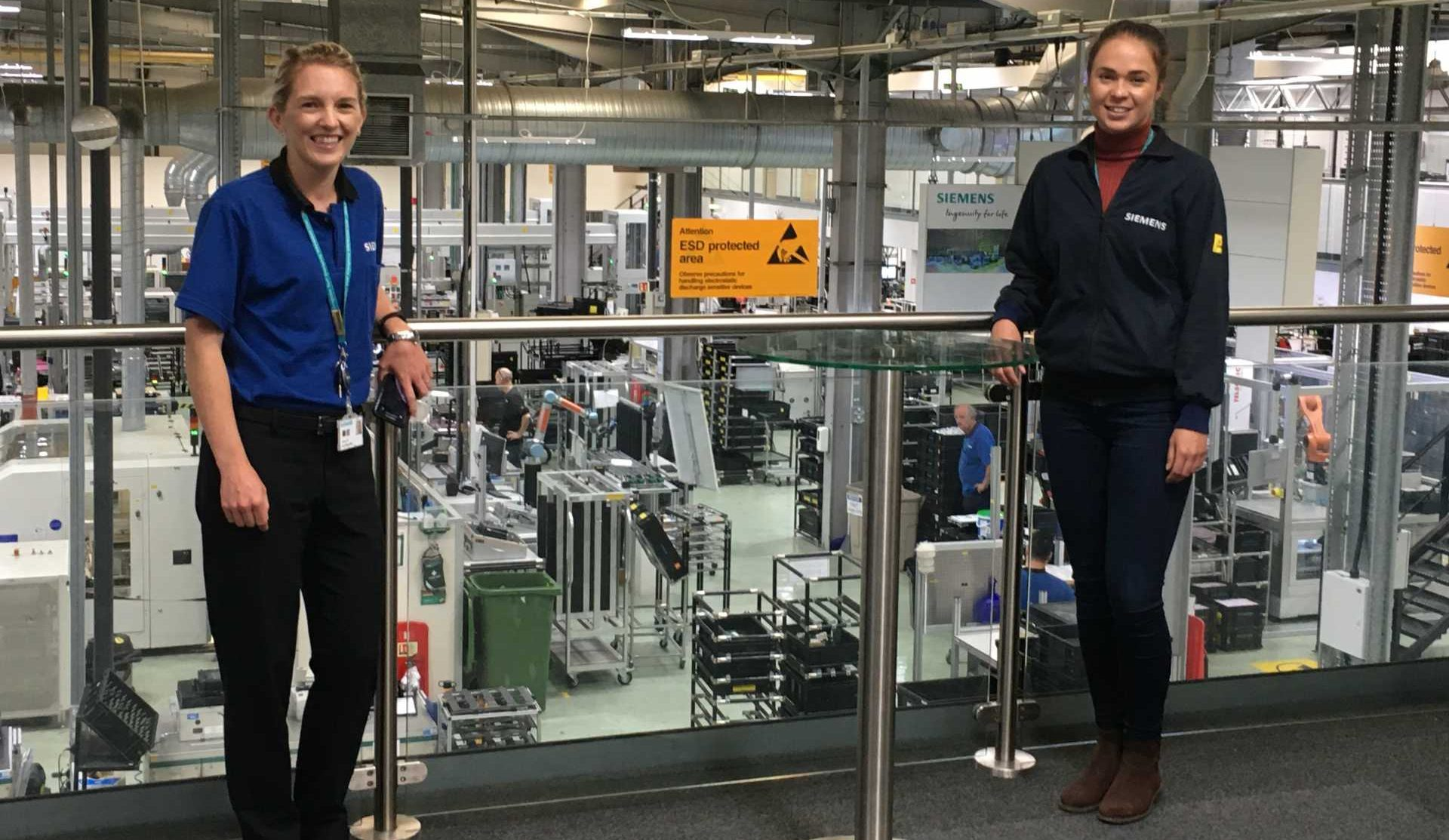 Sarah Black-Smith and Ashleigh Sumner at Siemens' Congleton Factory - image courtesy of Siemens