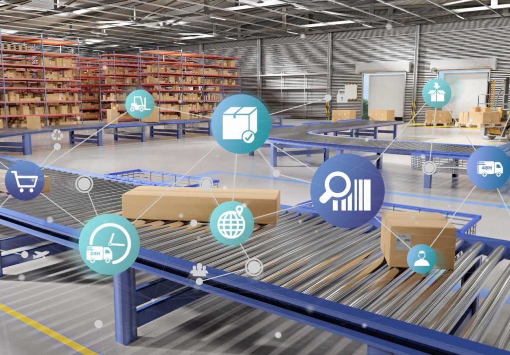 Adaptive Manufacturing Enterprises - Digital Factory, Digital innovation Logistics supply chain digital technologies transformation warehouse iot connectivity data - shutterstock_1144447313