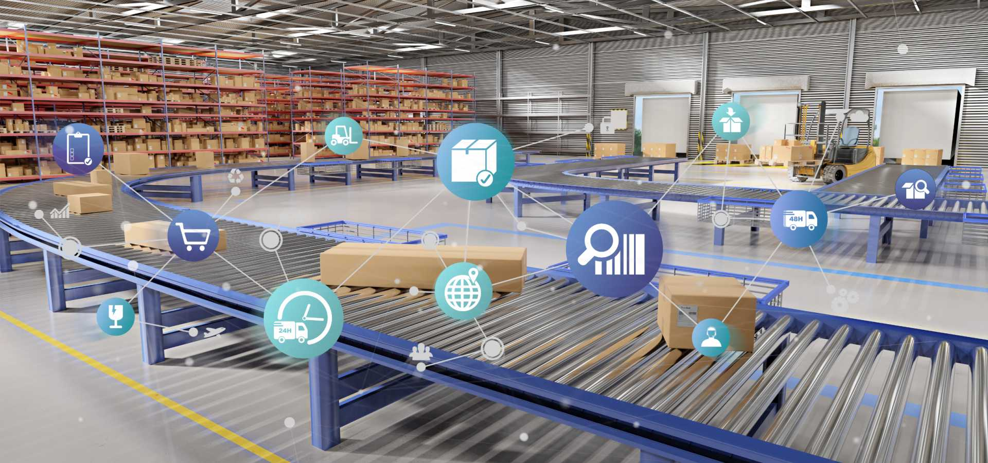 Full size - Adaptive Manufacturing Enterprises -Digital innovation Logistics supply chain digital technologies transformation warehouse iot connectivity data - shutterstock_1144447313