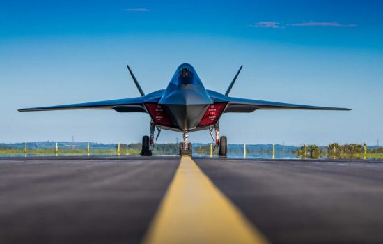 Combat Aircraft - Tempest, a concept model showing a vision of the UK's future combat aircraft, on the runway at BAE Systems' site in Warton, Lancashire - image courtesy of BAE Systems