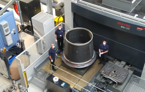 AMRC Composite Centre engineers worked during lockdown to complete work on the satellite nose cone.