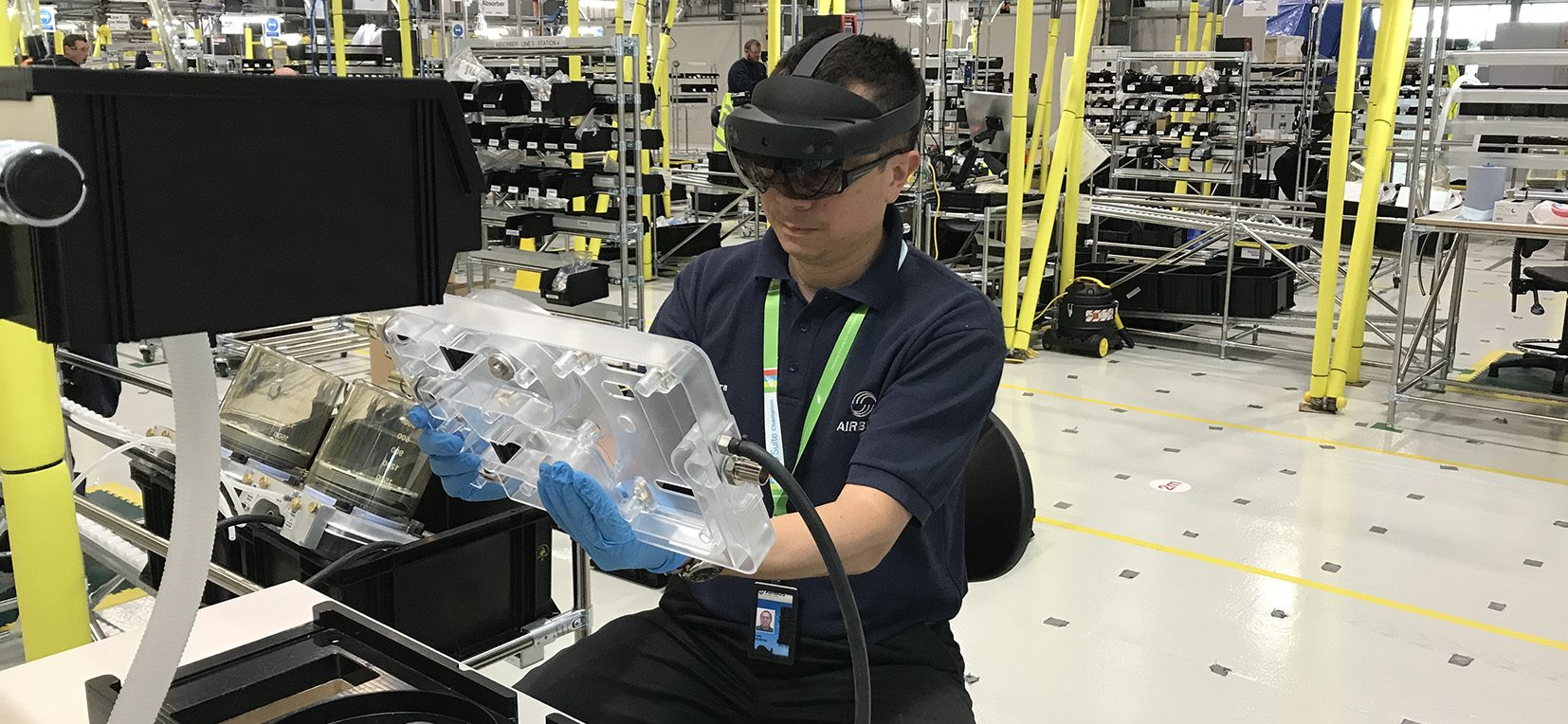 Augmented Reality - 1 - Airbus employees using VEC technology as part of the VentilatorChallengeUK consortium project