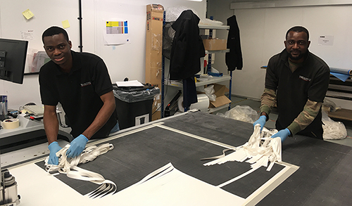 TRB's Felix Otomewo and Clint Boa-Amponsem producing the first batch of 3,000 face visors