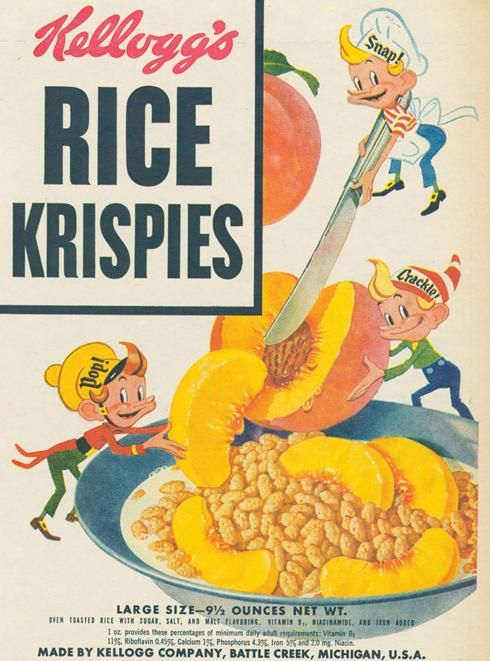 Vintage Kellogg's Rice Krispies marketing packaging featuring Snap, Crackle and Pop - image courtesy of Retroplanet.com