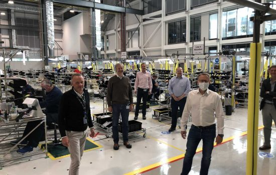 The VentilatorChallengeUK exec team at AMRC Cymru, Ali is fourth from the left. Image: VCUK