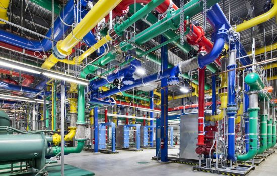 Coloured pipes in a Google Data Centre. Image: Google Cloud