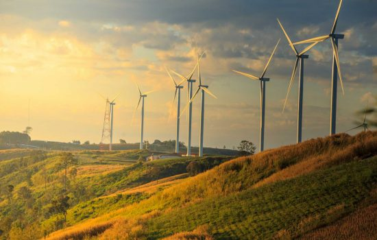 Wind turbines on sunny morning - Shutterstock - Remanufacture sustainable manufacturing - Sustainability