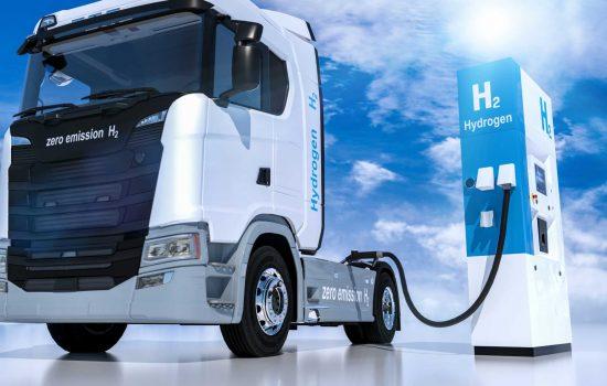 hydrogen logo on gas stations fuel dispenser. h2 combustion Truck engine for emission free ecofriendly transport. 3d rendering - Shutterstock