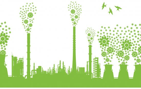 Sustainability green eco sustainable industrial development concept factory - Shutterstock