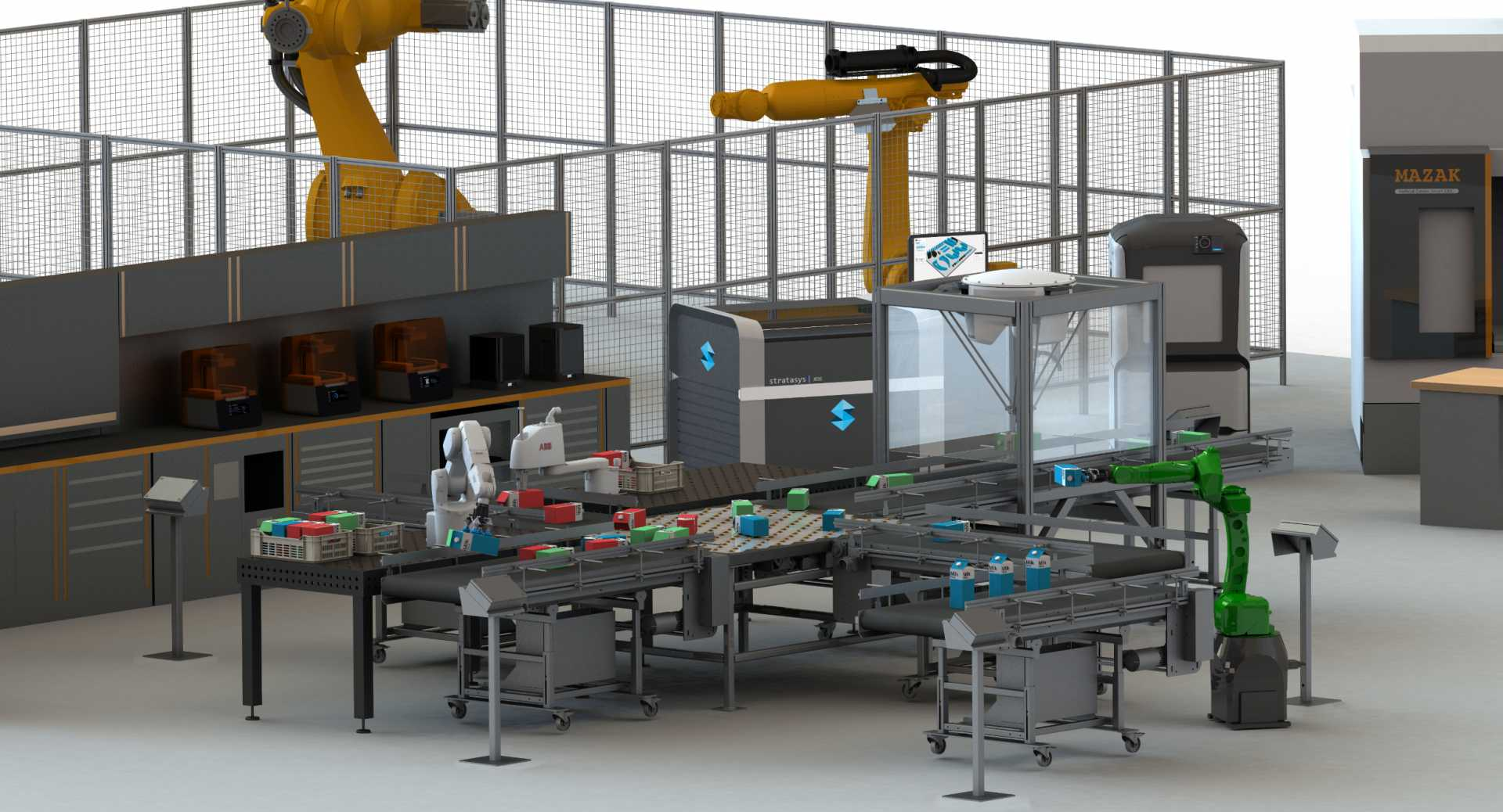 The Sustainability Centre will have a central demonstrator based on a conveyor system, which will be linked together with cobots, AGVs and other advanced technologies. Image: AMRC Cymru