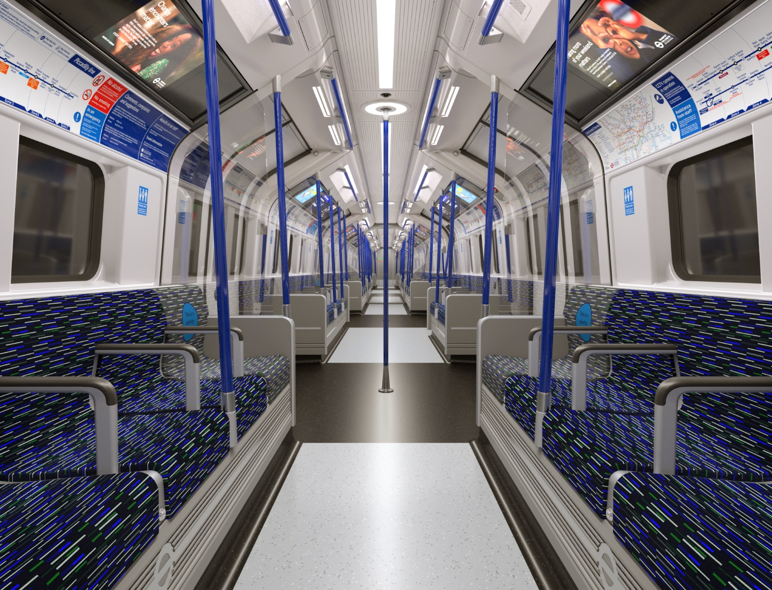 TFL & Siemens Mobility unveil new Picadilly line trains interior. Image courtesy of TFL