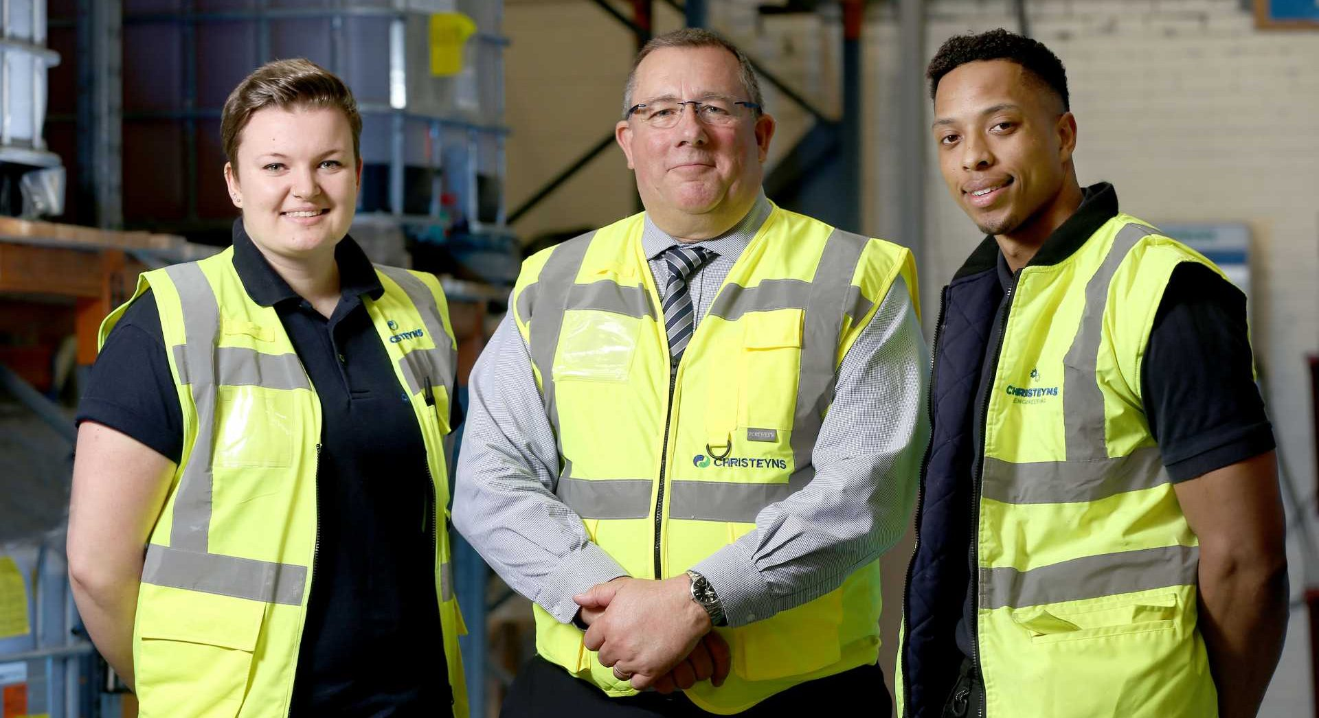 Captured at the launch of the inaugural Bradford Manufacturing Week in 2018 is Founder Nick Garthwaite, with Christeyns apprentices Lauren Bean (L) and Jordan Smith (R) IMAGE: BRADFORD MANUFACTURING WEEKS