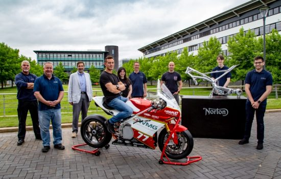 The finished electric racing bike 'Frontier' next to a model of the Norton Motorcycles frame it is built on. The full team from left to right are: Robert Driver – Battery Testing & Characterisation Engineer, David Cooper – Precision Engineer at WMG, Professor Dave Greenwood - CEO of WMG High Value Manufacturing Catapult, Tom Weeden – the professional rider for the team, Lee-Rose Jordan – Project Manager, Student Projects at WMG, Malcolm Swain – Lead Engineer a WMG, Martin Neczaj – Chief Chassis Engineer at Norton Motorcycles, James Grohmann –Lead Design Engineer (Student), Aman Surana – Chief Engineer of Warwick Moto team (Student) Credit: Norton Motorcycles