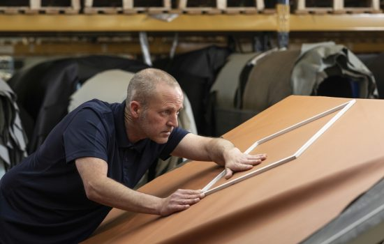 Alister MacDonald at the quality table. Image courtesy of Scottish Leather Group.