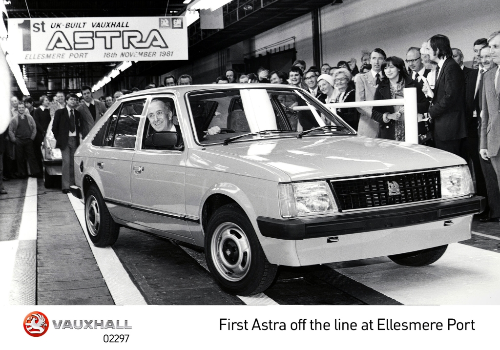 The first UK-built Vauxhall Astra rolled off the production line at Ellesmere Port in 1981. Image courtesy of Vauxhall Motors.