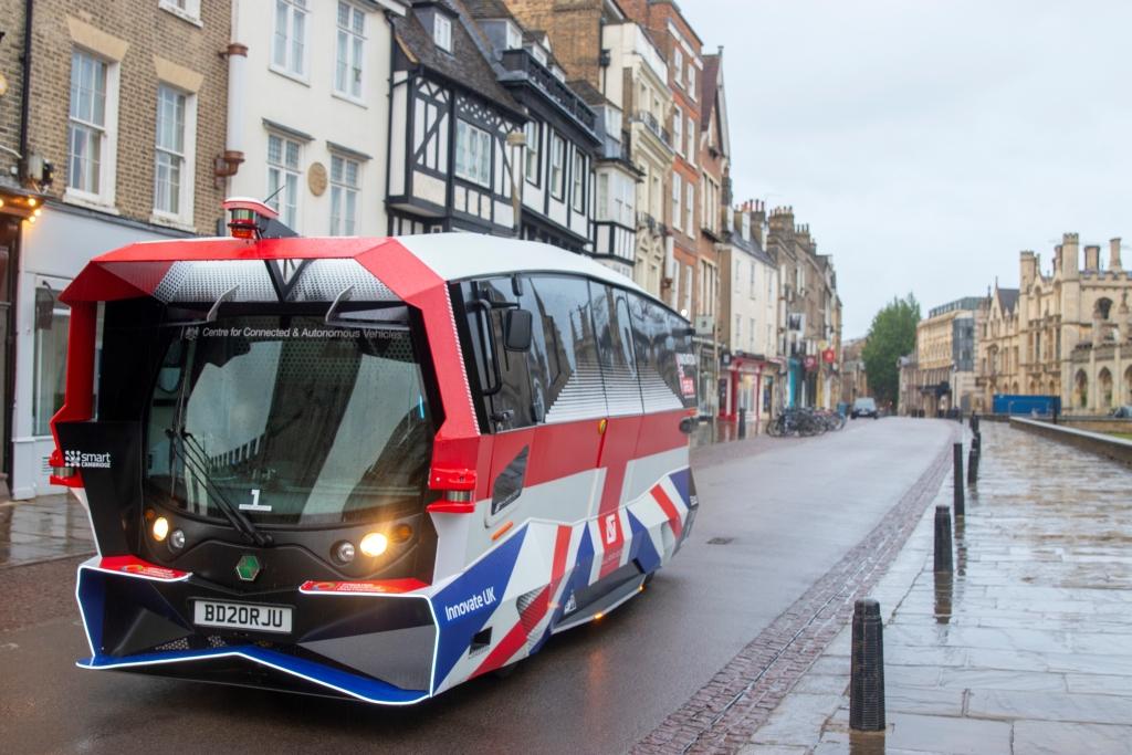 Aurrigo Autonomous pod on a pedestrian street. Image courtesy of WMG, University of Warwick