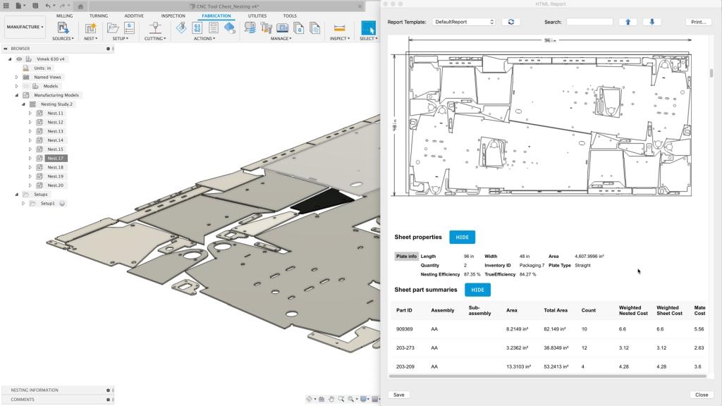 Nesting report in Autodesk Fusion 360. Image courtesy of Autodesk