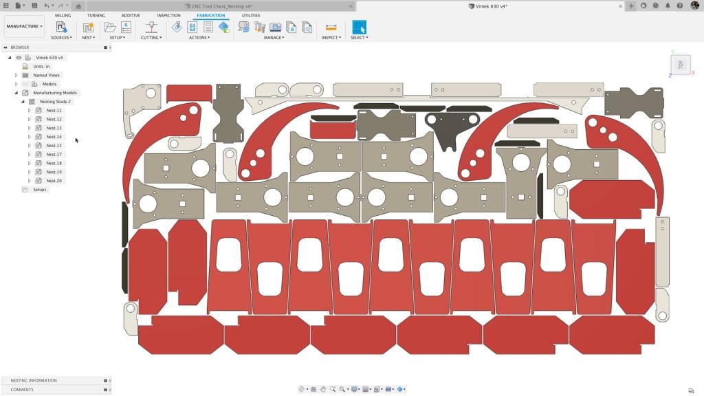 VIMEK nested sheet in Autodesk Fusion 360. Image courtesy of Autodesk