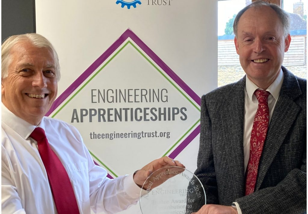 Steve Barker with Trust Award for Contribution to apprenticeships - Credit: The Engineering Trust