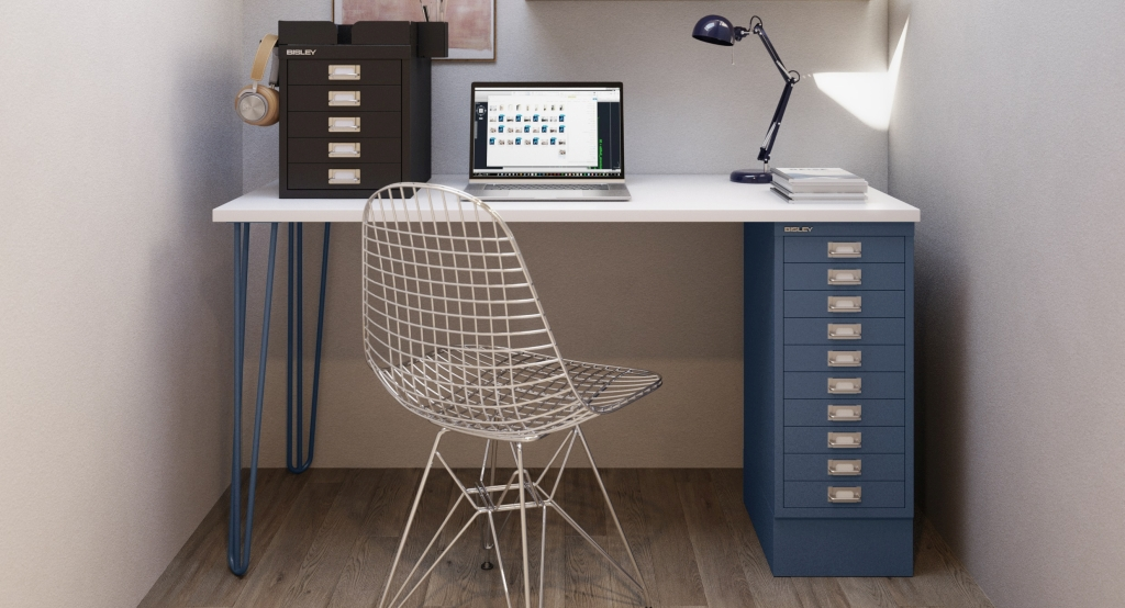 Home office multidesk solutions. Image courtesy of Bisley.
