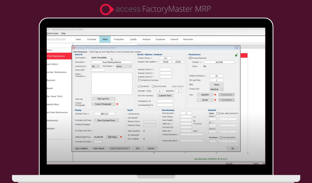 AccessFactoryMasterMRP. Image courtesy of The Access Group