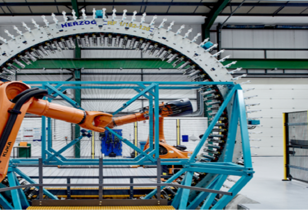 The AMRC's Herzog Radial Braiding Cell with triaxial capability and dual robot part manipulation