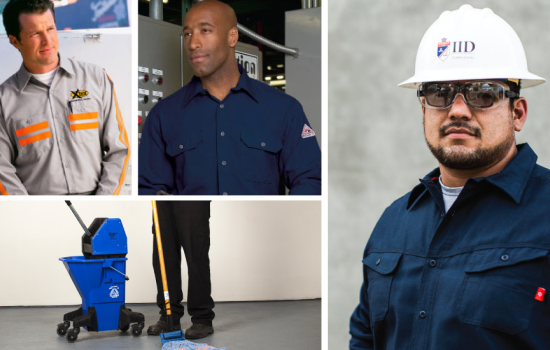 A selection of uniforms from Prudential Overall Supply, which provides manufacturing protective gear and PPE 550x350 - image courtesy of Prudential