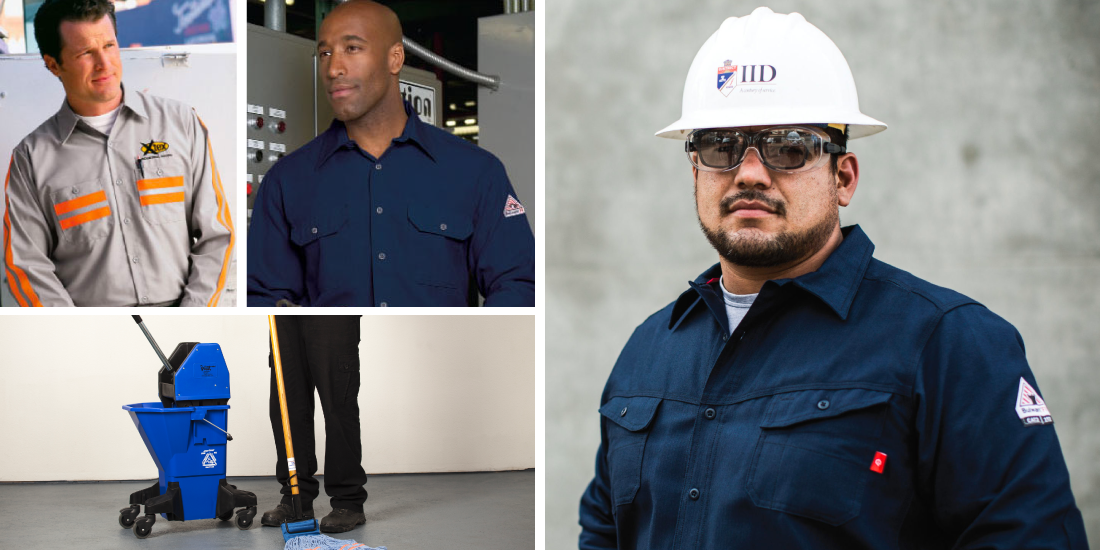 A selection of uniforms from Prudential Overall Supply, which provides manufacturing protective gear and PPE - image courtesy of Prudential