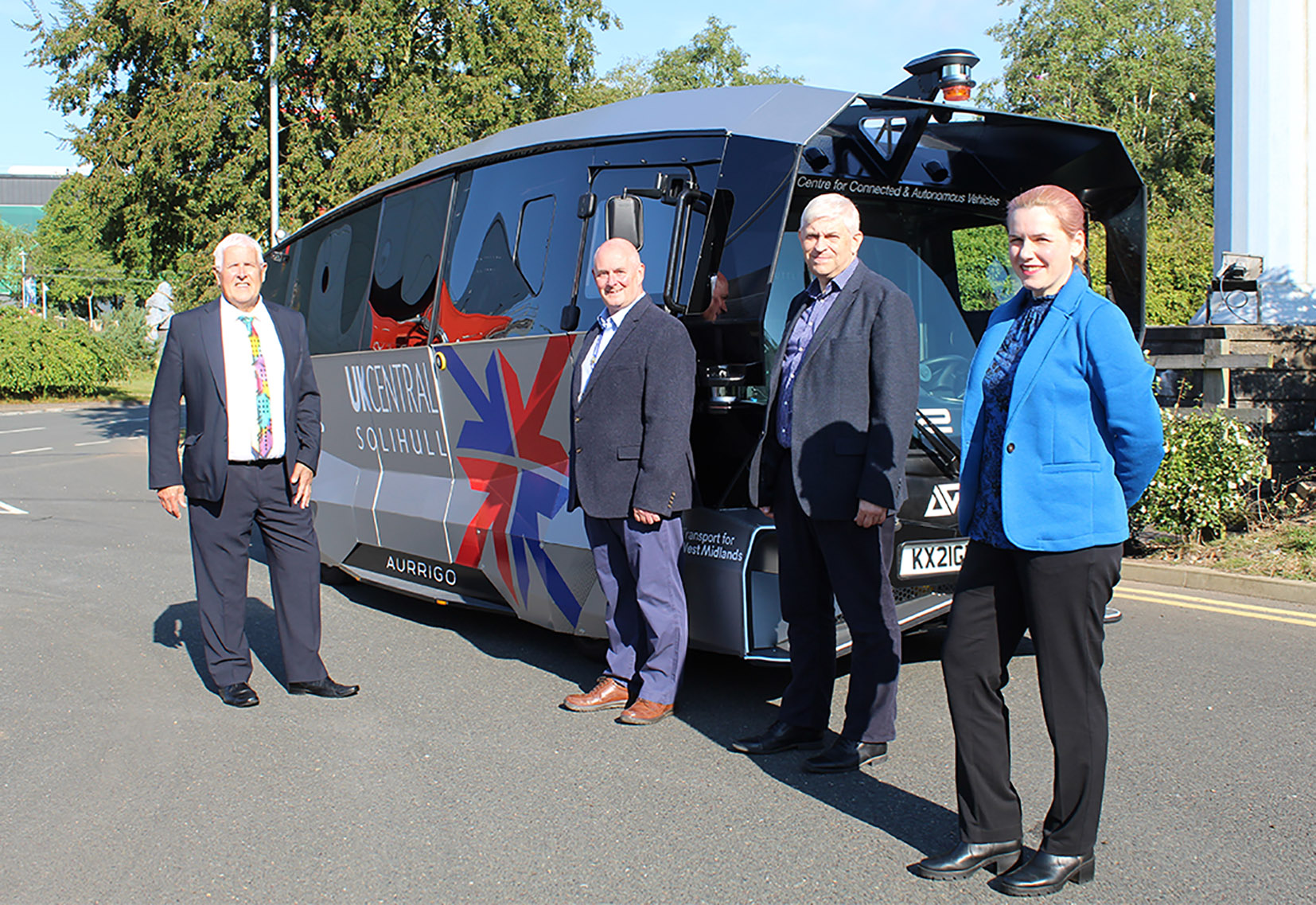 (L-R): Councillor Ken Hawkins (Cabinet Portfolio Holder for Environment & Infrastructure at Solihull Council), Gary Masters (NEC Campus General Manager), Chris Lane (Head of Transport Innovation at TfWM) and Ewa Truchanowicz (GBSLEP Board Director). Image courtesy of Aurrigo.
