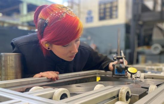 Hannah Cocklin, a tool room apprentice at Jaguar Land Rover. Image courtesy of Jaguar Land Rover