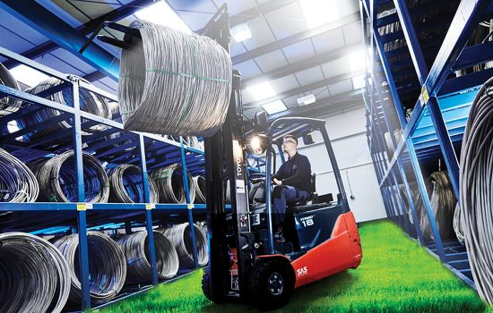 AWI Carbon Neutral Forklift grass. Image courtesy of AWI.